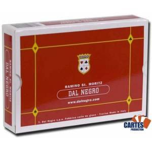 Coffret Dal Negro Ramino ST MORITZ – 2 jeux de cartes cartonnées plastifiées – format poker – 4 index standards – coffret pvc