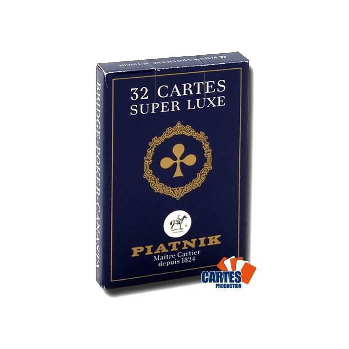 Belote Super Luxe - Jeu de 32 cartes cartonnées plastifiées – format bridge – 4 index standards