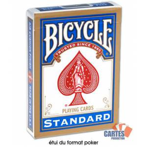 Bicycle Standard - Jeu de 54 cartes toilées plastifiées – format poker – 2 index standards
