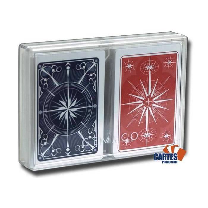 Coffret Gemaco STAR BRIDGE – 2 jeux de cartes 100% plastique – format poker – 4 index standards – coffret pvc