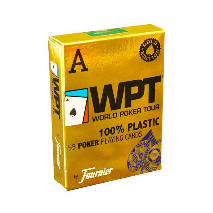 Fournier WPT Gold – jeu de 54 cartes 100% plastique – format poker - 2 index jumbo