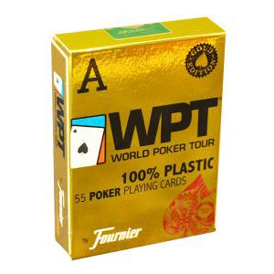 Fournier WPT Gold – jeu de 54 cartes 100% plastique – format poker - 2 index jumbo