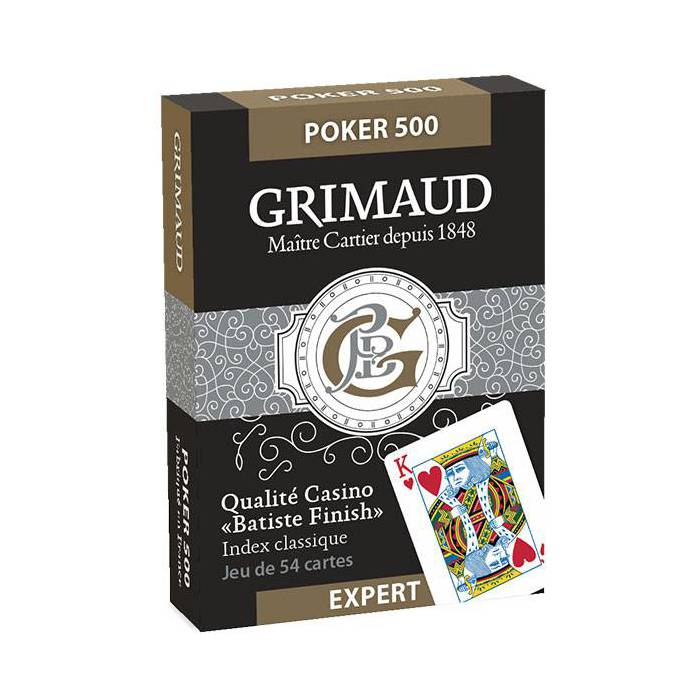 GRIMAUD EXPERT POKER 500 – jeu de 54 cartes toilées plastifiées – format poker – 2 index standards