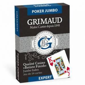 GRIMAUD EXPERT POKER JUMBO – jeu de 54 cartes toilées plastifiées – format poker – 2 index jumbo