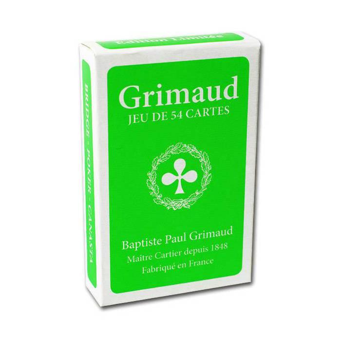 Grimaud Fluo - jeu de 54 cartes toilées plastifiées – format bridge – 4 index standards
