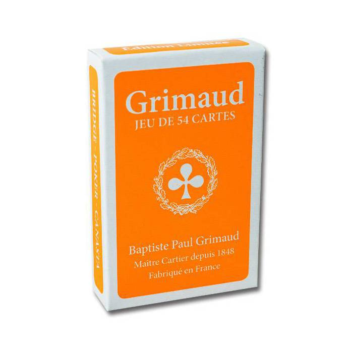 Grimaud Fluo - jeu de 54 cartes toilées plastifiées – format bridge – 4 index standards