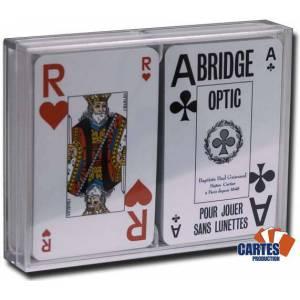 Coffret Grimaud Bridge OPTIC – 2 jeux de cartes cartonnées plastifiées – 2 index jumbo et 2 index standards – format bridge