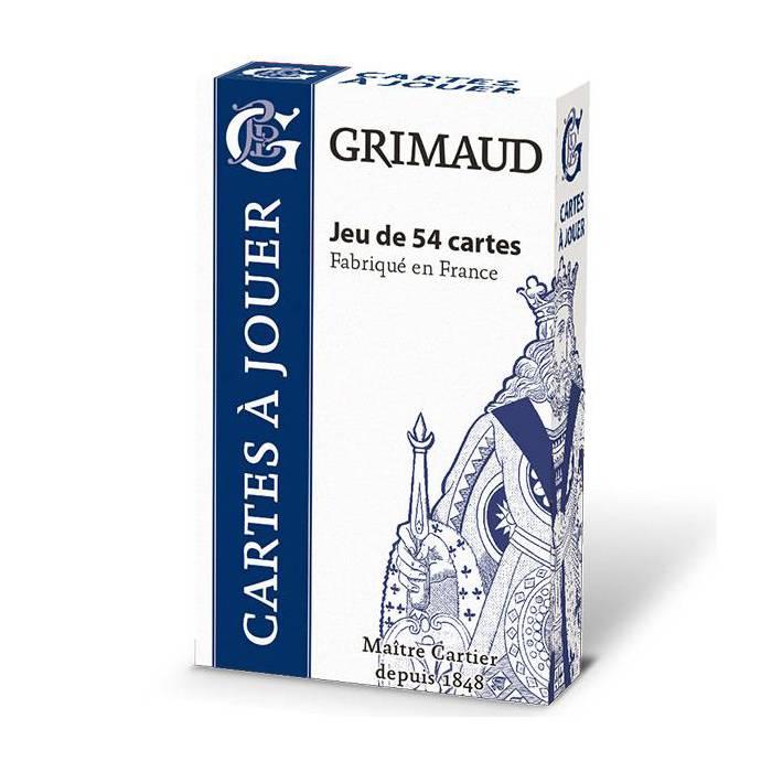 Grimaud Origine 54 cartes - jeu de 54 cartes cartonnées plastifiées -  format bridge – 4 index standards