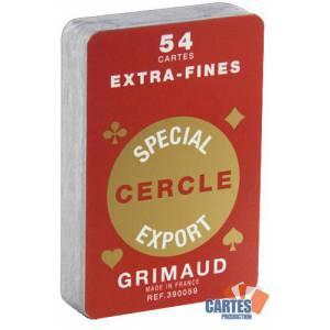Grimaud Spécial Cercle Extrafines - Jeu de 54 cartes cartonnées plastifiées – format bridge – 4 index standards