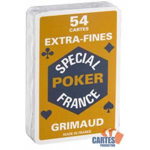Grimaud Spécial Poker Extrafines - Jeu de 54 cartes cartonnées plastifiées – format bridge – 4 index standards