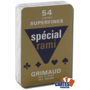 Grimaud Spécial Rami Superfines- Jeu de 54 cartes cartonnées plastifiées – format bridge – 4 index standards