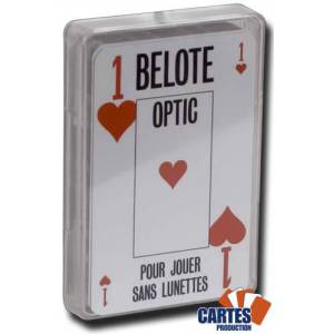 Grimaud Belote OPTIC - jeu de 32 cartes cartonnées plastifiées – 2 index jumbo et 2 index standards – portraits français