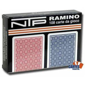 Coffret Long Life Ramino - NTP – 2 Jeux de 54 cartes rouge et bleu 100% plastique – format poker - 4 index standards