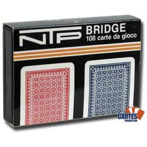 Coffret NTP Long Life Bridge – 2 Jeux de 54 cartes rouge et bleu 100% plastique – 4 index standards