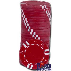 Jetons de poker DOUBLE DICE AND STRIPES - en ABS avec insert métallique – rouleau de 25 jetons  – 11