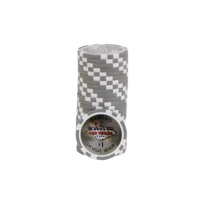 Jetons de poker LASER WELCOME LAS VEGAS - en ABS avec insert métallique – rouleau de 25 jetons  – 11