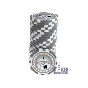 Jetons de poker ROYAL FLUSH - en ABS avec insert métallique – rouleau de 25 jetons  – 11