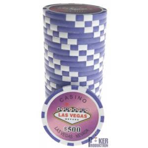Jetons de poker WELCOME LAS VEGAS - en ABS avec insert métallique – rouleau de 25 jetons  – 11