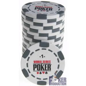 Jetons de poker WSOP - en clay composite avec insert métal – 14g – rouleau de 25 jetons