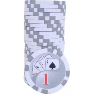Jetons de poker YING YANG - en ABS avec insert métallique – rouleau de 25 jetons  – 11