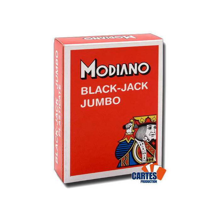 Modiano Black Jack - Jeu de 54 cartes 100% plastique – format poker – 2 index jumbo