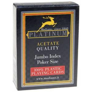 Modiano Platinum – jeu de 54 cartes 100% plastique – format poker – 2 index jumbo