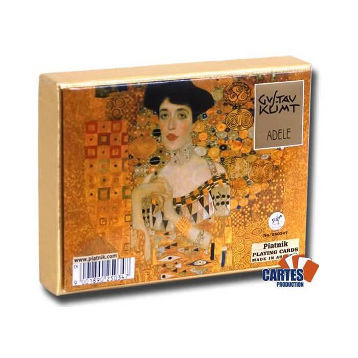 Coffret Klimt Adele – 2 Jeux de 54 cartes cartonnées plastifiées – format bridge – 4 index standards