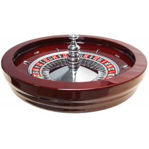 Roulette française de casino en acajou Simple 0 – centre en métal plaqué nickel – livrée avec 2 billes