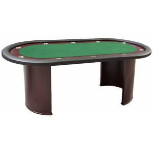 "Table de poker ""NEVADA LUXE"" - pieds demi-lune - race track en bois - tapis en tissu microfibre – 10 joueurs"