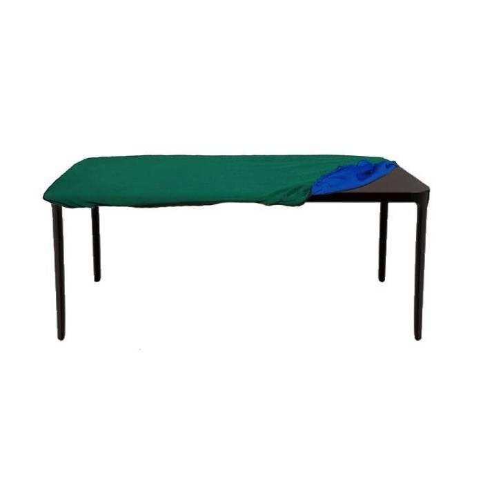 Tapis de poker jersey néoprène pour table rectangulaire – recto vert verso bleu – housse de rangement