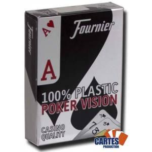 Fournier Poker Vision – Jeu de 54 cartes 100% plastique – format poker – 4 index standards – 2 index XXL