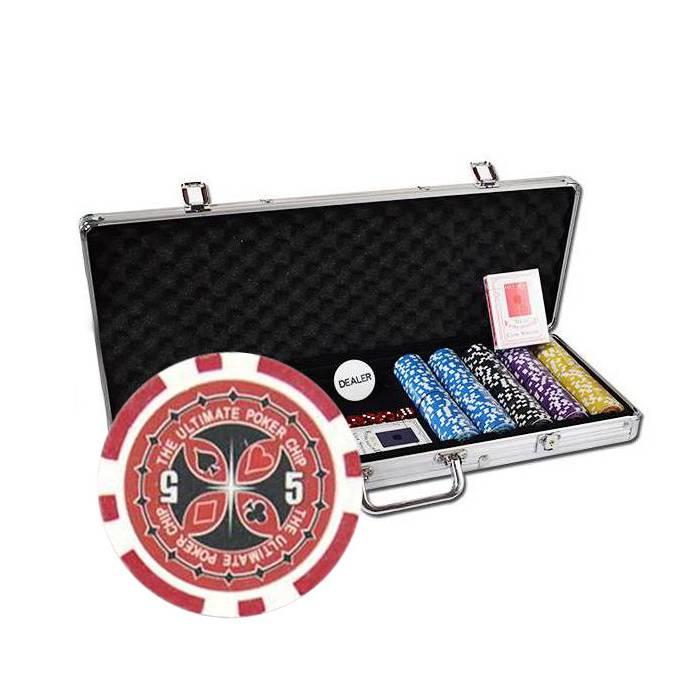 Mallette de 500 jetons de poker ULTIMATE POKER CHIPS – en ABS