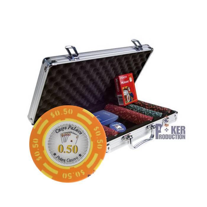 Mallette de 300 jetons poker CHIPS PALACE DOLLAR – en clay composite 14g – livré avec 2 jeux de cartes et accessoires