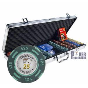 Mallette de 500 jetons poker CHIPS PALACE DOLLAR – en clay composite 14g – livré avec 2 jeux de cartes et accessoires