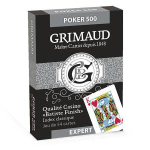 GRIMAUD EXPERT POKER 500 – jeu de 54 cartes toilées plastifiées – format poker – 2 index standards