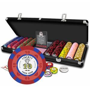 Mallette de 500 jetons de poker LIBERTY - en polypropylène – 11