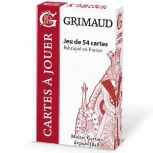 Grimaud Origine Belote en boîtier plastique - jeu de 32 cartes cartonnées plastifiées - format bridge – 4 index standards