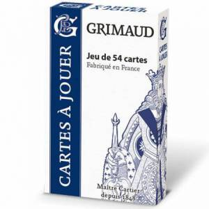 Grimaud Origine 54 cartes - jeu de 54 cartes cartonnées plastifiées -  format bridge – 4 index standards