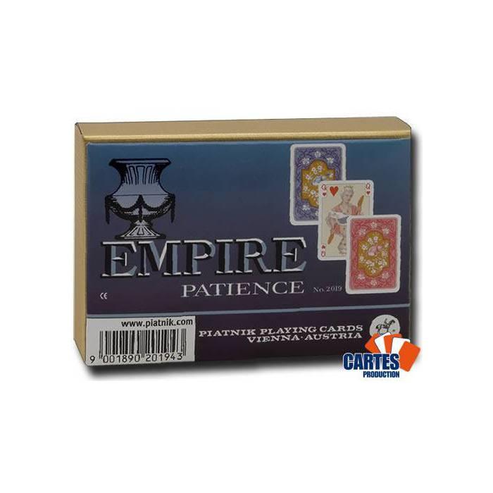 Coffret Patience Empire – 2 jeux de 52 cartes cartonnées plastifiées – format patience – 4 index standards
