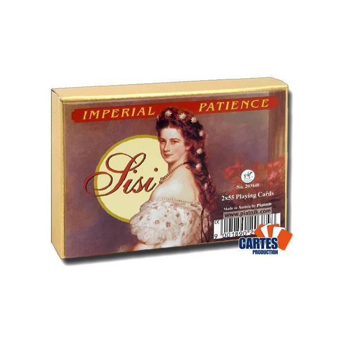 Coffret Patience Sissi – 2 jeux de 52 cartes cartonnées plastifiées – format patience – 4 index standards