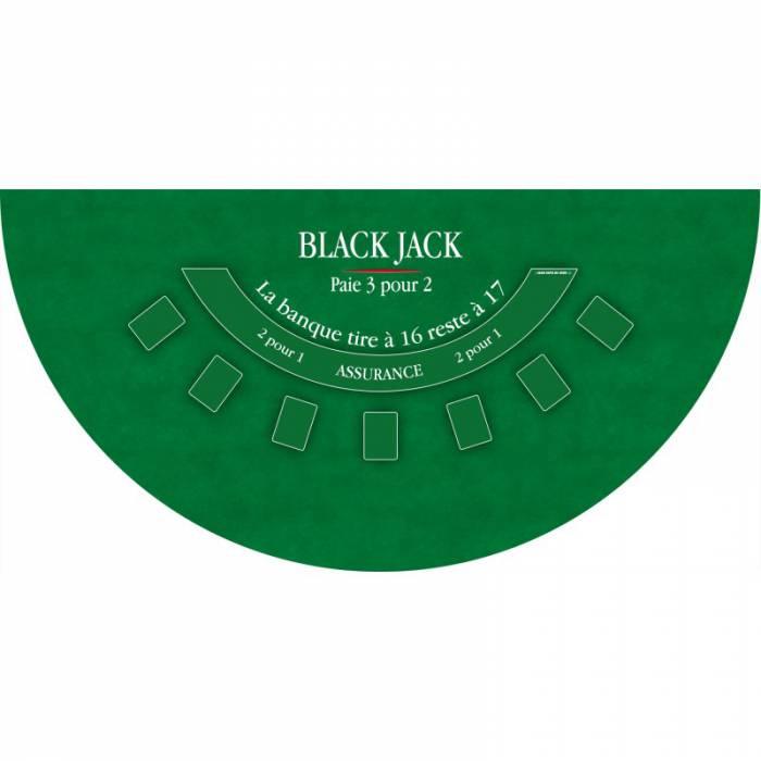 """Tapis de """"BLACK JACK"""" - 140 x 70 cm - jersey néoprène - Demi-lune - 4 couleurs"""