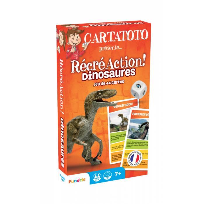 Cartatoto Récré Action ! Dinosaures – jeu de 44 cartes cartonnées plastifiées
