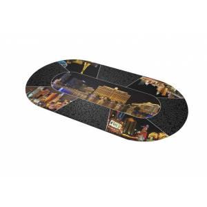 """Tapis de Poker """"Las Vegas by Night"""" - ovale - 180 x 90 cm 8/10 joueurs - jersey néoprène"""