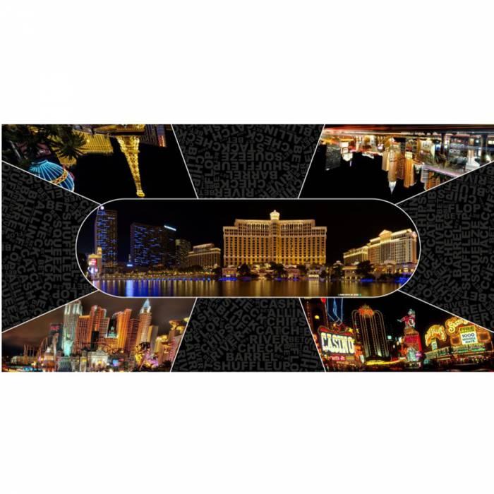 """Tapis de Poker """"Las Vegas by Night"""" - rectangulaire - 180 x 90 cm 8/10 joueurs - jersey néoprène"""