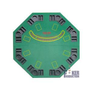 Dessus de table de poker octogonal -en bois – 8 joueurs – tapis en feutrine avec betline