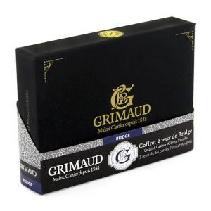 """Grimaud Expert - Coffret """"Exclusif"""" Bridge - 2 jeu de 54 cartes cartonnées plastifiées – 4 couleurs – 4 index standards"""