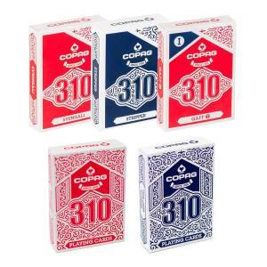 Pack COPAG 310 - 2 Jeux de base et 3 jeux Truqués - jeu de 56 cartes toilées plastifiées – format poker – 2 index standards