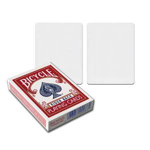 Bicycle Standard Recto-Verso Blanc – Jeu de 54 cartes toilées plastifiées – format poker – 2 index standards