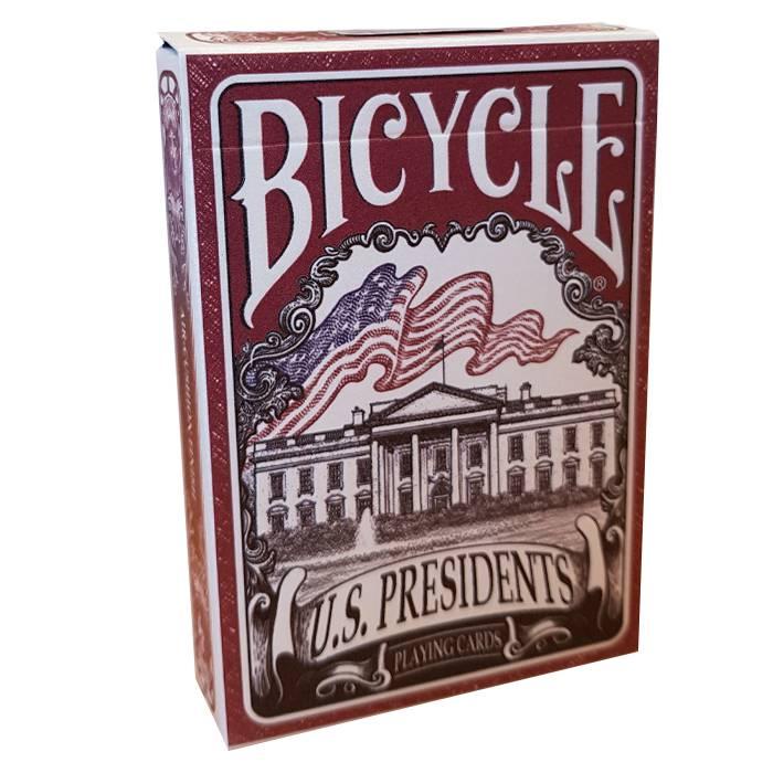 "Bicycle ""U.S. PRESIDENTS"" - Jeu de 56 cartes toilées plastifiées – format poker – 2 index standard"