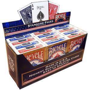 """Cartouche Bicycle """"RIDER BACK"""" Standard – 12 Jeux de 56 cartes toilées plastifiées – format poker – 2 index standards"""